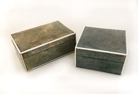 IX-03-57 & 58 Two English Chargreen Boxes (Sharkskin) View 1 (2 boxes)