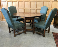 III-04-55 Walnut Gateleg Table and Four Louis XIV Chairs