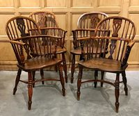 III-06-70 English Yew Wood Windsor Chairs -  View 1