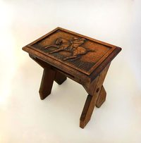 III-15-32 Oak Carved Stool - View 1
