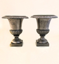 X-08-07 Pair of French Polished Iron Urns