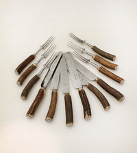 I-04-34 Victorian Steel and Stag Horn Cutlery