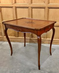 III-96-106 French Cherry Louis XV Cabaret Table with Leather Top