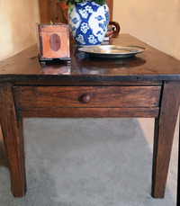III-04-277  French Chestnut Farm Table made into coffee table
