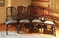 III-17-17  Set of 8 Yew Wood Highback Windsor Chairs