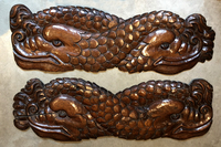 III-07-18 Pair of Celtic Walnut Wood Carvings