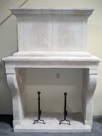 X-17-18 Louis XIII Style Reproduction Limestone Fireplace