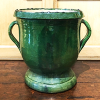 II-18-17 Green French Two Handled Confit Pot