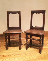III-04-251 17th Century Pair of French Walnut Chapel Chairs